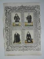 4x Incisione Costume Religioso Bombate Spaccate Bacciaio
