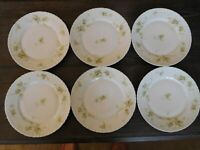 "Antique Theodore Haviland Limoges France Coral Floral 9-3/4"" Dinner Plates SIX"