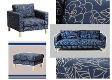 IKEA Karlstad Bladaker Floral Sofabed,Ottoman,Arm Chair Blue Beige Cover NEW-3