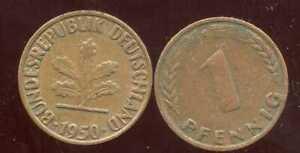 ALLEMAGNE  GERMANY  1 pfennig  1950 G    ( etat )