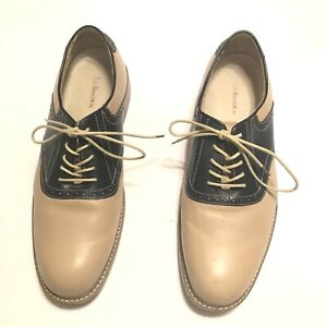 G . H . Bass Saddle Oxford Navy Blue And Cream Men's Shoes Size 12 D