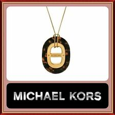 MICHAEL KORS Gold Heritage Maritime Tortoise Pendant Necklace NWT MKJ4459