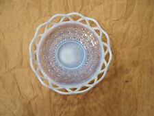 Imperial Katy Blue Opalescent Lace Edge Glass Bowl Sugar Cane Pattern