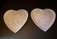 Heart Shaped Blue Speckled Plates ~ Made in Portugal ~ #959 gf ~ SET OF 2