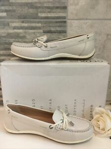 """GEOX WOMEN'S LEATHER MOCCASINS/LOAFERS """"VEGA""""🤍Size UK 4🤍Off White NEW + BOXED"""