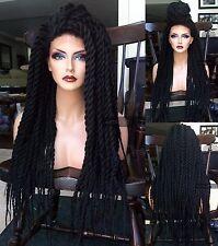 USA: Hand Braided LACE FRONT Black Dreadlocks Crochet Twist BOX BRAID Wig