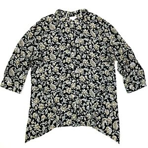 j.jill 3/4 sleeve floral asymmetrical button up shirt black white size medium