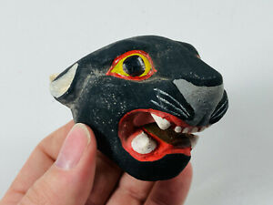 Vintage Hand Carved hand painted Black Panther Wooden South American Mask