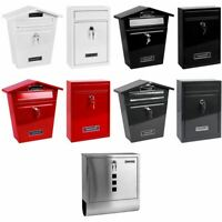 Post box Mail Box Large Steel Lockable Outside Letter Wall Mounted With Keys