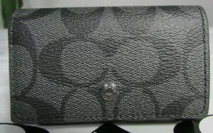 NWT Coach Signature Canvas Five Ring Key Case F78675 in Charcoal