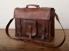 Men's Genuine Vintage Leather Messenger Laptop Briefcase Satchel Man Bag Brown