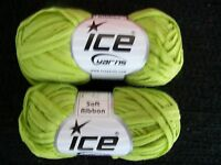 Soft Luxury Ribbon yarn, green, lot of 2 (66 yds each)