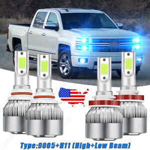 4x 8000k LED Headlight Kit Bulbs For Chevy Silverado 1500 2007-2015 Hi/Low Beam