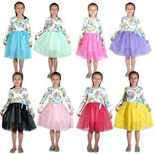 Manga Larga Flor Niñas Vestido de Fiesta 8 Colores 18 Meses A 9 Años