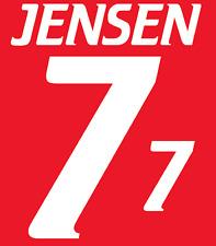 Dinamarca Jensen del 2000 Camiseta De Fútbol Número Letra calor Hogar Fútbol de impresión