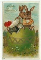 Dressed~ Rabbits Bunnies in Egg with Heart~Love~Romance Easter Postcard~a944