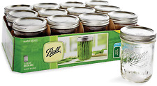 12 Count Ball Glass Mason Jars with Lids & Bands, Wide Mouth, 16 oz for Salsas