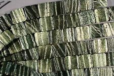 "BRAZILIAN GREEN ZEBRA SERPENTINE W/ CHRYSOTILE DOUBLE DRILL BEADS 20MM 8"" SQUARE"