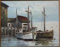 DOCKED BOATS HARBOR SCENE OIL ON CANVAS BY DUNNING