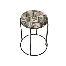 VINTAGE DESIGN LIGHT WEIGHT ROUND  METAL STOOL WITH COMFORTABLE SEAT