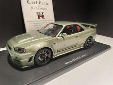 1/18 AutoArt 2007 Nissan Skyline GT-R R34 Z-Tune Millenium Jade Green 77353 RARE