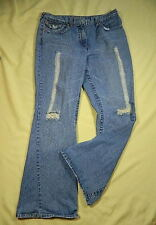 Jeanology Collection Women's Distressed  Boot Cut Jeans Size 14