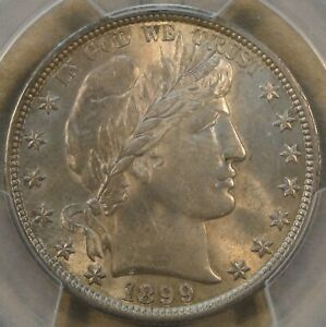 1899 Barber Half Dollar 50c PCGS Certified AU58 CAC