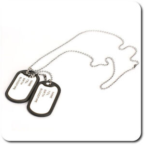 Dog Tag Necklace Chain 2 Pendant Men's Army Steel Name