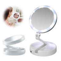 Miroir De Maquillage Deux Côté USB LED 10X Grossissant Loupe Pliable Cosmétiques