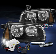 FOR 2006-2010 DODGE CHARGER REPLACEMENT BLACK HEADLIGHT W/CORNER+DRL LED+HID KIT