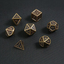 7Pcs/set Vintage Bronze Metal Polyhedral Dice DND RPG MTG Role Playing Game Toy