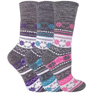 Ladies 3 Pack Non-Elastic Winter Warm Fairisle Thermal Socks