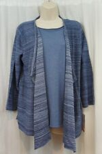 Alfred Dunner Sweater Sz S Denim Blue Mock Shawl Cardigan Pullover Sweater