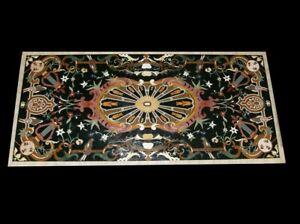 "54"" x 32"" marble dining Table Top semi precious stones pietra dura inlay"