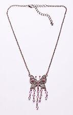 Encantador Cepillado Plata Metal & Multi Rosa Gem & del grano Collar De Mariposa (zx28)