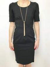 FAB VERONIKA MAINE BLACK THICK STRETCH FITTED SHORT SLEEVE DRESS SZ 6