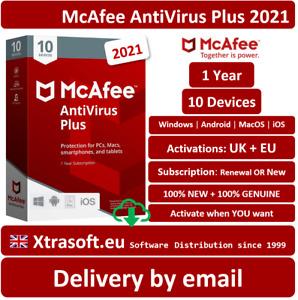 McAfee AntiVirus Plus 2021 10 Devices (1 Year) PC/Mac EMAILED SAME DAY  UK +EU