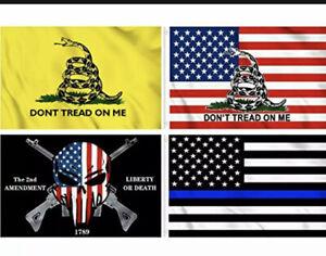KENPMA 4 Pieces Gadsden American Flag - Liberty or Death 2nd Amendment Flag - Th
