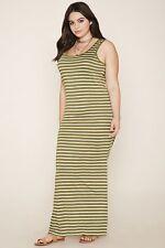 b20c0aa912b Forever 21 Plus Size Olive Cream Sriped Maxi Knit Side Slit Dress XL 1X