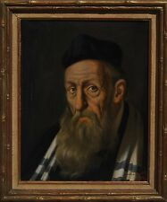 Jeno Gussich (Hungarian, b.1905) Judaica Oil Painting Portrait of Rabbi