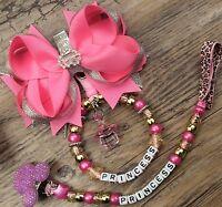 Set of 2 Personalised pram charm &dummy clip holder 4 pram,carseat  hot pink