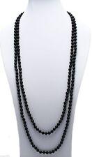 "Genuine Black Onyx 100"" Long 8mm Bead Stranded Necklace"