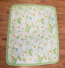 Vintage 80s Winnie the Pooh Baby Crib Quilt Sears Disney Green Dot Ruffle