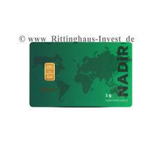 Goldbarren 1g 1 Gramm Feingold Nadir Gold 99,99 Zertifikat Scheckkarte LBMA