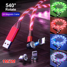 540° LED Glowing Flowing Magnetic Phone Charger Cable Cord for Type C IOS Micro