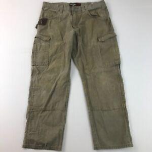 Wrangler Riggs Pants 36x30 Green Denim Carpenter Cargo Straight Fit Mens D9_15
