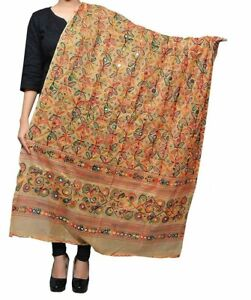 Women's Kutch Work Cotton Beige Dupatta Heavy Design Stole Scarf - Free Shpping