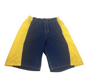 Nike Mens Size 30 Navy Blue & Yellow Swim Trunks Board Shorts