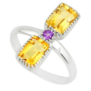 3.18cts Natural Yellow Citrine Amethyst 925 Sterling Silver Ring Size 7.5 R77216