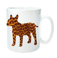 English Bull Terrier Mug Leopard Print Dog Silhouette Birthday Mothers Day Gift